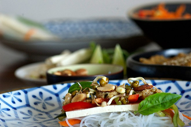 Almond Satay Rice Paper Rolls - Homespun Capers