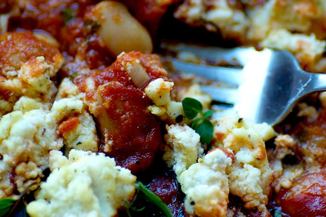 Baked Eggplant Butter Beans with Lemon Macadamia Ricotta - Homespun Capers