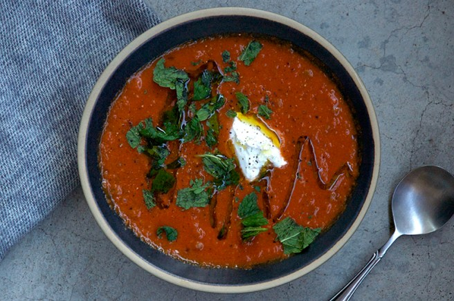 Spicy Eggplant and Tomato Soup - Homespun Capers