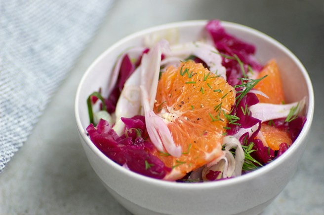 Shaved Fennel, Orange and Sauerkraut Salad - Homespun Capers
