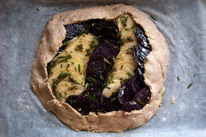 Potato and Onion Galette with Rosemary and Pine Nuts! vegan and gluten free. A gluten free pastry made with coconut oil!