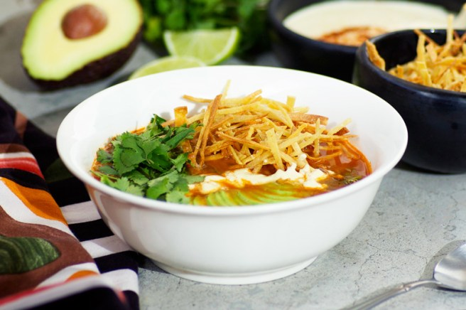 Chipotle Black Bean Tortilla Soup with Cashew Queso
