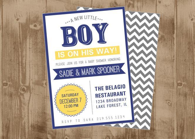 Modern Boy Baby Shower Invitation In