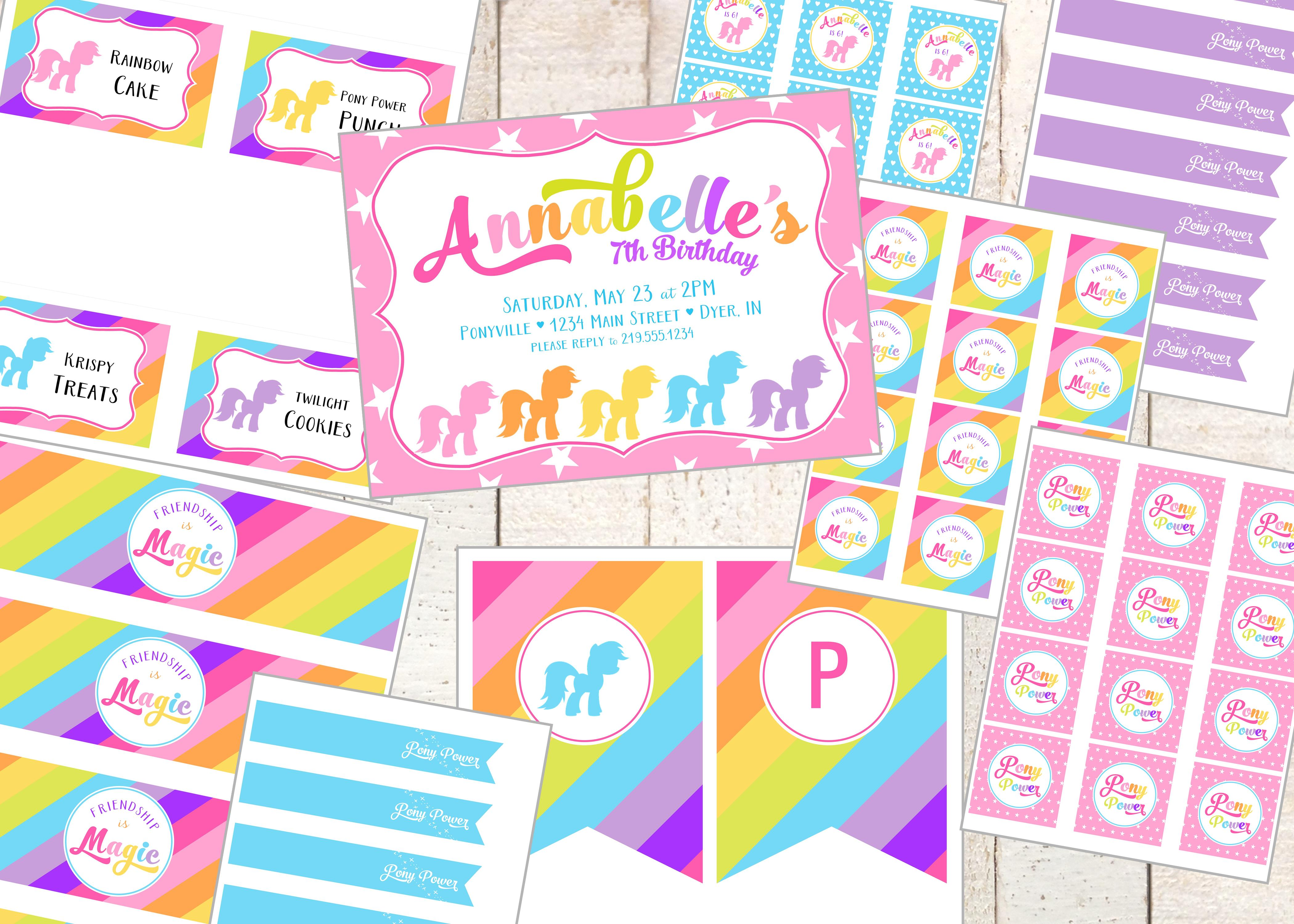 Bright Pony Printable Party Set My Little Pony Inspired In Rainbow Colors