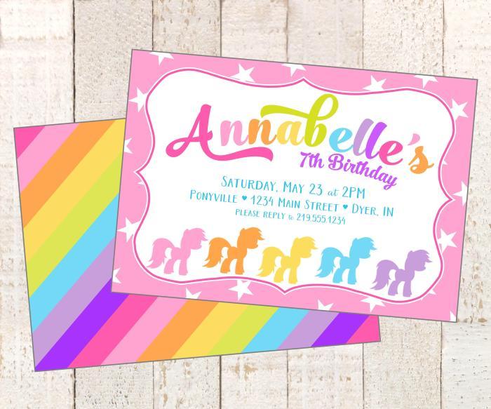 colorful pony invite