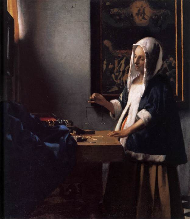 """""""Woman Holding a Balance"""" by Johannes Vermeer"""