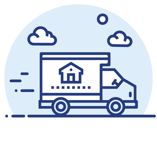 Moving truck with a house as a design on its side icon