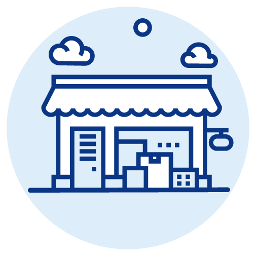 store with boxes outside icon