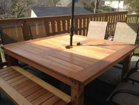 diy outdoor patio table 18 DIY Outdoor Dining Room Tables