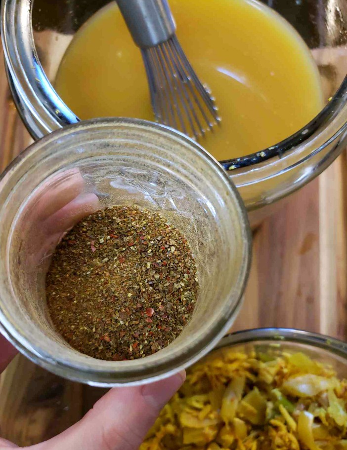 A small jar of homegrown chili powder. Just a pinch is added to the fire cider, after the honey.