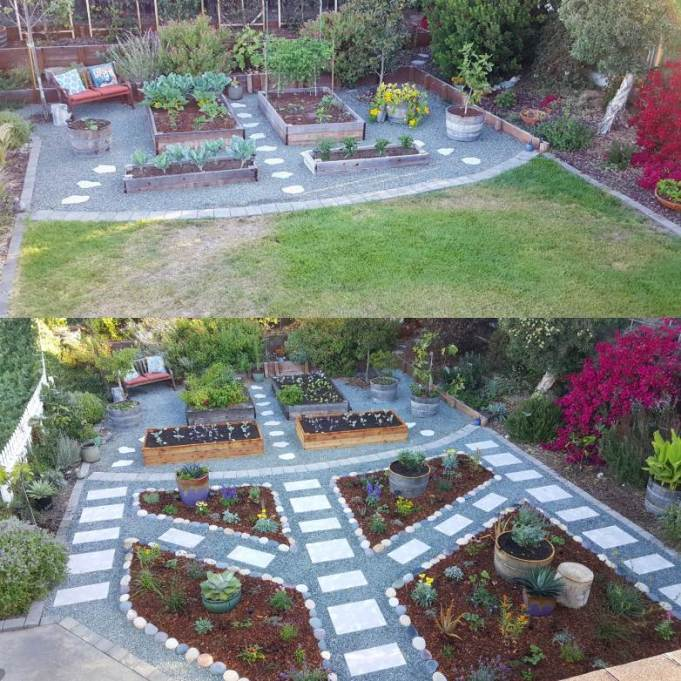 """A two way image collage taken of the front yard from the roof of the house. The first image shows the front yard after half of the grass was removed. The half of the yard that was grass is now covered in green rock gravel and paver pathways. There are raised garden beds and half wine barrels full of vegetables. The second image taken from the roof of the house a couple of years later shows that we removed the grass from the front half of the yard as well, covering the barren land with green rock gravel, paver pathways, and """"islands"""" full of perennial and annual plants planted directly in the ground and mulched with bark."""