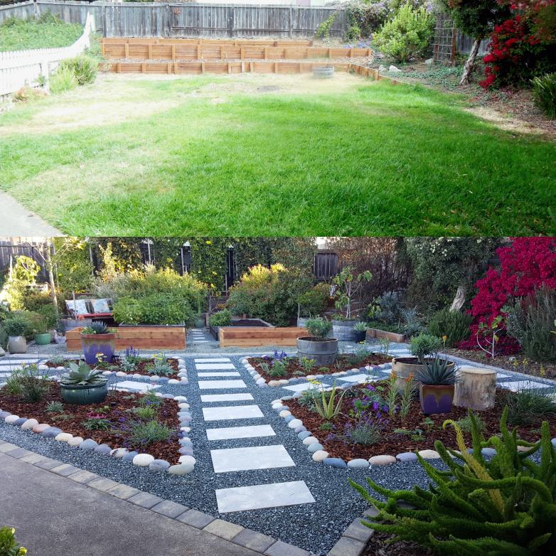 A before and after photo, when we moved in, August 2013. The yard was all grass. The bottom photo is September 2017, when we had just finished removing the rest of the lawn and planting a pollinator paradise instead, full of flowering plants, gravel and stone pathways, and raised garden beds.