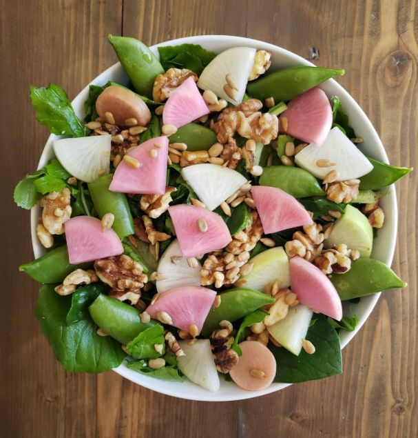 A bowl of garden salad, including romaine, arugula, spinach, snap peas, raw daikon radishes, and fermented radishes. 100% homegrown.