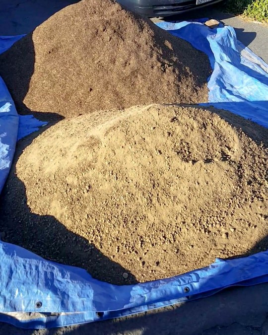 An image of two very large mounds of soil on a driveway, on top of a blue tarp. It was a delivery of several yards of bulk soil and organic compost.