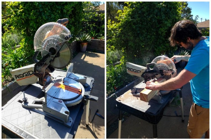 Two side by side images of a miter saw on a workbench, being used to cut redwood boards on a garden patio.