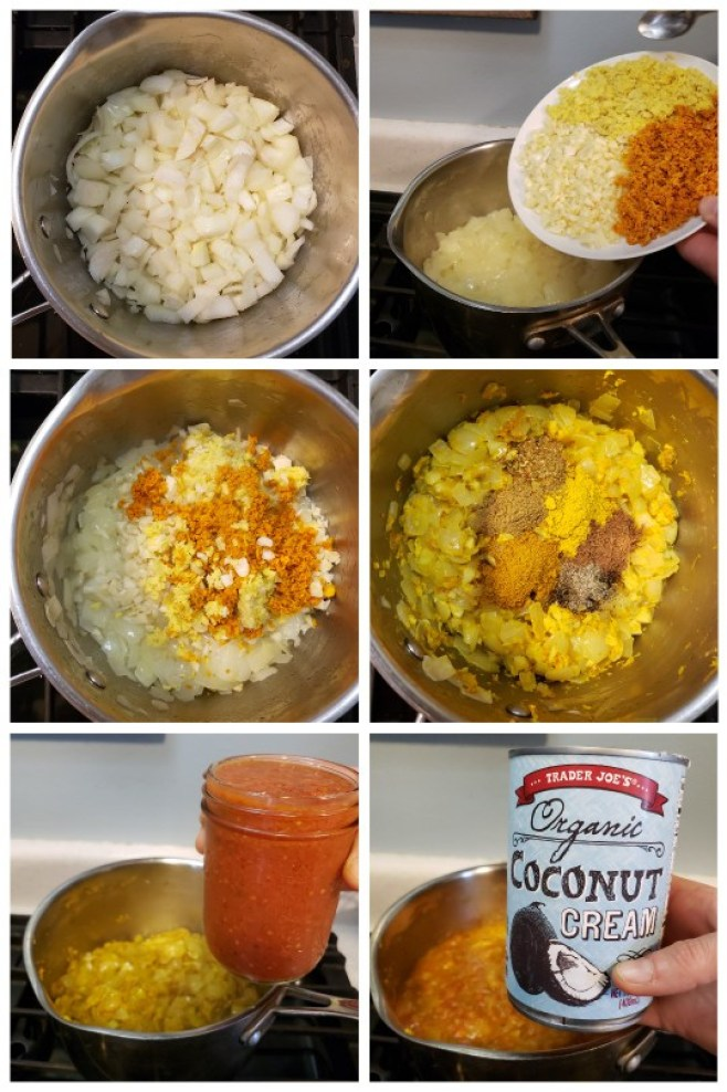 6 photos are shown, the process of making curry sauce. One is onions cooking in a pan. Then chopped turmeric, ginger, and garlic are added. Next, a photo of all the curry seasonings sitting on top before they're stirred in. The last two photos showing a hand holding a jar of tomato preserves and a can of organic coconut cream, also being added to the pot.