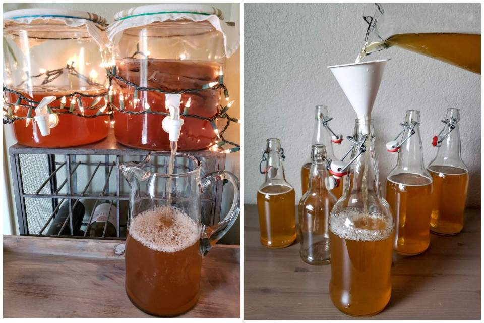 Two images. One shows a glass pitcher below a 2-gallon glass beverage dispenser, being filled with kombucha from the dispenser. The second image is of swing-top bottles being filled with the kombucha from the pitcher, using a funnel on top.