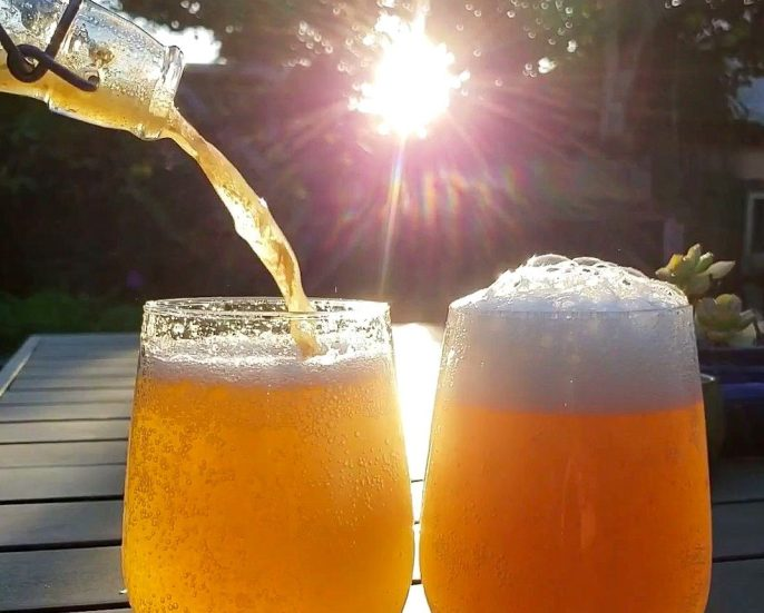 A bottle of homemade kombucha is being poured into two stemless wine glasses. One is full with an inch or so of foam while the other is nearly full but is still in the process of being poured. The kombucha has a golden hue to it and the sun is setting in the immediate background, creating an even more gold hue to the scene.
