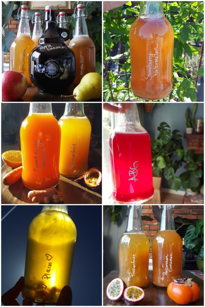 6 images of kombucha bottles of various colors, with different flavors written on the bottles. Flavoring with the seasons. Apple cinnamon and pear in the fall. Strawberry watermelon in the summer. Carrot orange turmeric in the spring. Passionfruit and persimmon in the winter. And sometimes, just plain.