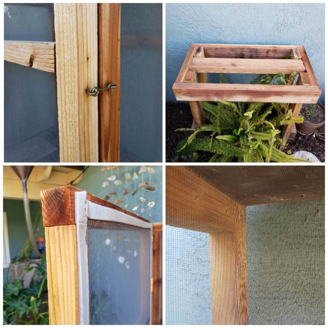 Close up details of the same wood cage shown above, showing the weather stripping around the door, the eye and hook latch, the base without the cage on it, and a close up of the inside screen, flush in the corners.