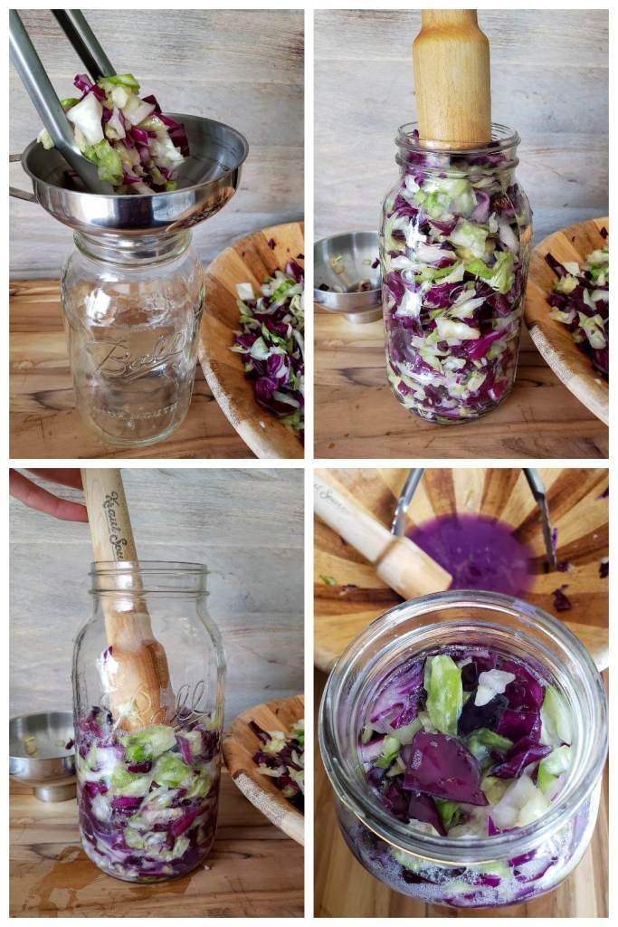 Four photos in one. Showing the sauerkraut being added into a mason jar with tongs, then pressed down and compacted with a wood mallet, until the jar is full.