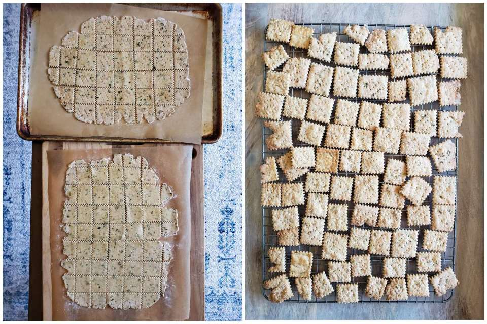 A side by side photo of the crackers ready to go into the oven. There are two cookie sheets shown from above, with the raw dough all cut and poked as previously described. The second image shows the crackers immediately after done baking, cooling down on a cooling rack. They are slightly more golden brown and fluffy now.