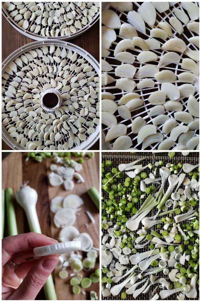 A four way photograph collage displaying the sliced garlic being prepared on a cutting board and the already prepared garlic displayed on drying racks, ready to be placed in the food dehydrator.
