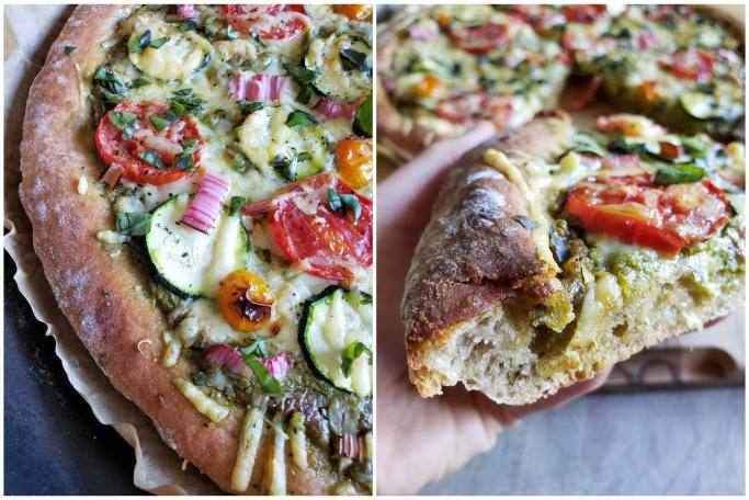 A two way close up image collage. The first is a close up image of 1/3rd of the pizza, it shows the beautiful brown crust, and perfectly baked veggies and melted cheese. The second photo is the pizza after it has been sliced, a hand is holding a slice of the pizza showing the top and side/bottom of the crust. The rest of the pizza is in the background but is blurry due to the slice of pizza being in focus.