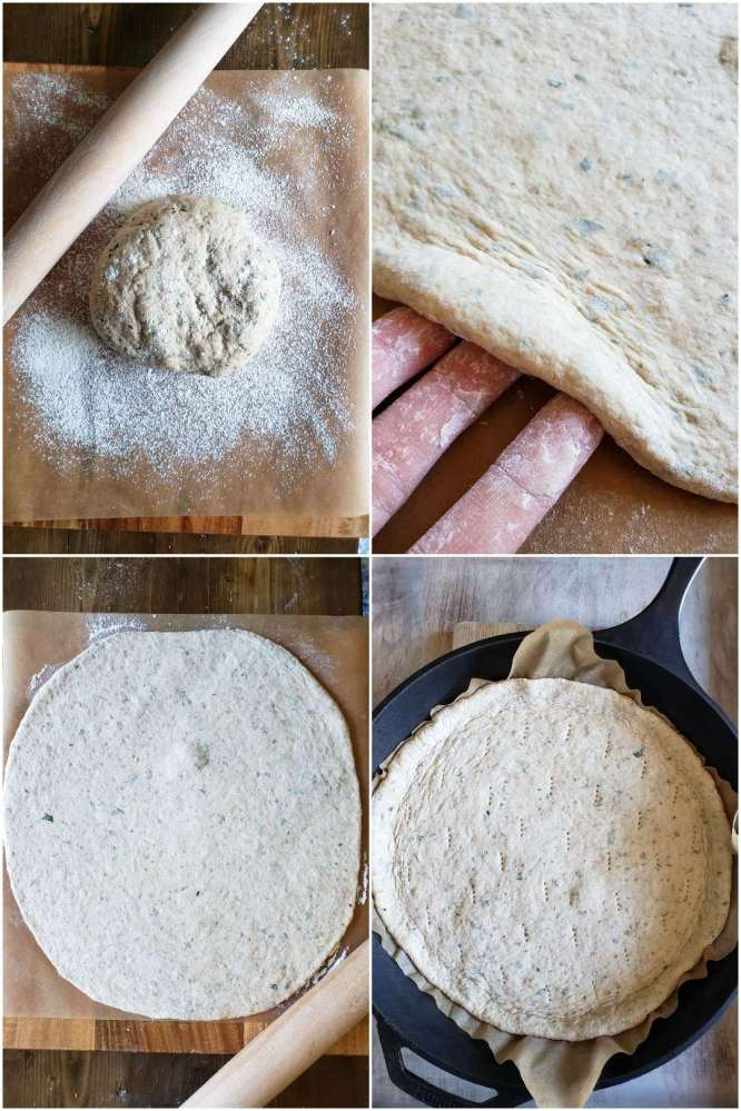 A four way photo collage first showing the formed dough ball sitting on parchment paper, dusted with flour with a rolling pin next to it. The next image shows the dough once it has been rolled out. Three fingers are lifting the edge of the dough to show the thickness. The following image shows the whole piece of dough all rolled out to the desired thickness. The final image shows the same rolled out dough after it has be poked with fork tines and it is now sitting in a cast iron skillet.