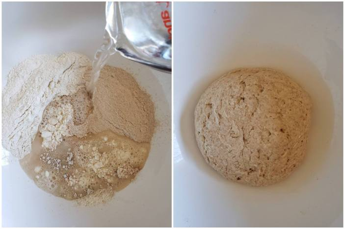 A two way image collage, the first image shows a close up of the inside of a white mixing bowl which contains different types of flour, there is a measuring cup in the top right corner pouring water into the bowl, there is a stream of water and some of it is already in the bottom of the bowl, mixing with the flour. The second image shows the same close up of the bowl but now there is a formed dough ball that is whitish brown. There are air holes and gluten strands here and there.