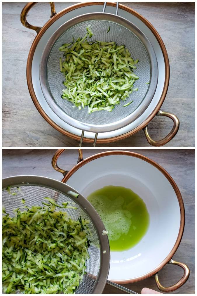 A two way image collage, the first shows a stainless steel strainer sitting on top of a white bowl whose outer rim is copper, the bowl also has two copper handles. Inside the strainer there is grated zucchini. The second image shows the same bowl and strainer, however, this image shows the strainer suspended above the bowl and to the front left corner of the image, there is a greenish liquid that covers the very bottom of the white bowl.