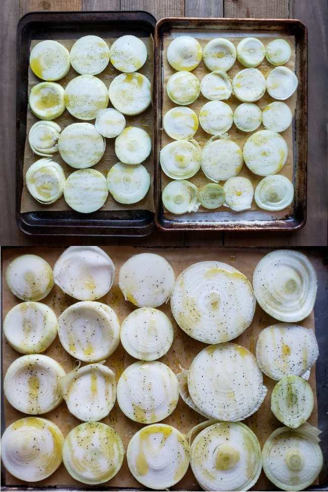 Three sheets of sliced onions have been prepared and put on baking sheets. They have been drizzled with olive oil and sprinkled with salt and pepper. They are now ready to be roasted.