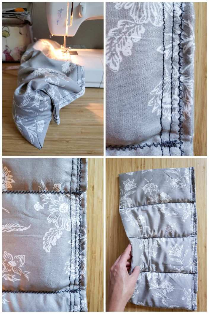 A four way image collage, the first image shows the heat pad standing on its bottom end, its top end has been folded over and is in position under the sewing machine needle to be sewn shut. The second image shows the finishing seam work that has been done, there are three seems visible along the long side of the pad and they all have a slight zig zag pattern to them. The third image shows the heat pad further away, showing ever more of the stitch work, the three seems along the long side are showing as well as the seems for two of the pockets on the rice heat pad. The fourth image shows the heat pad even further away so you can see the entire pad. A hand is lifting one side of the heat pad so it is slightly bent upward.