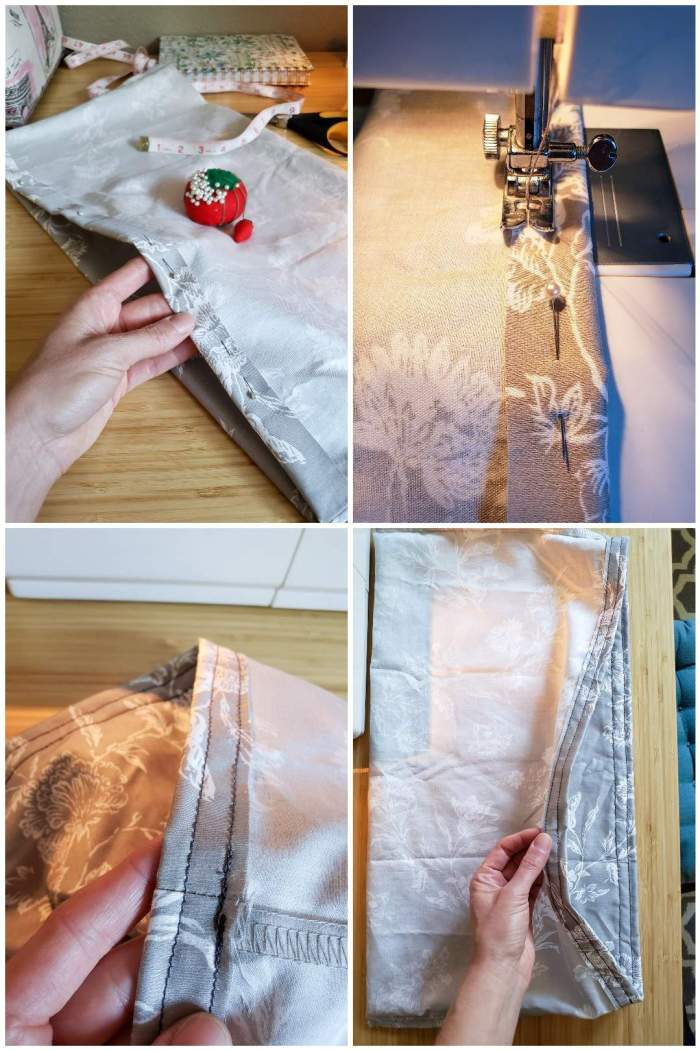 A four way image collage, the first image is a hand holding the pillow case open in the middle as it has been folded to create a pocket type of opening along the length of one edge. The main edge being shown has sewing pins placed along the edge of the pillow case which has been folded over itself by about half an inch. The second image shows the sewing machine sewing along the edge of the sewing pins that have been placed to hold the fabric down. The third image shows a close up of the two seems that were sewn along the line of sewing pins. The fourth image is similar to the third, it is just zoomed out more so you can see the pillow case and seem in its entirety.