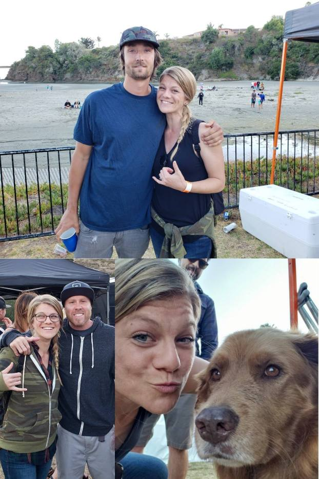 A three way image collage, the first image is DeannaCat getting her picture taken with Scott from Stick Figure backstage at a concert. There is a beach and cliff in the background. The second image is a picture of DeannaCat with Kyle from Slightly Stoopid, taken backstage at a concert. The third image is DeannaCat taking a selfie with Cocoa the Tour Dog backstage as well. Cocoa is a brown dog that resembles a light colored brown lab with longer fur.