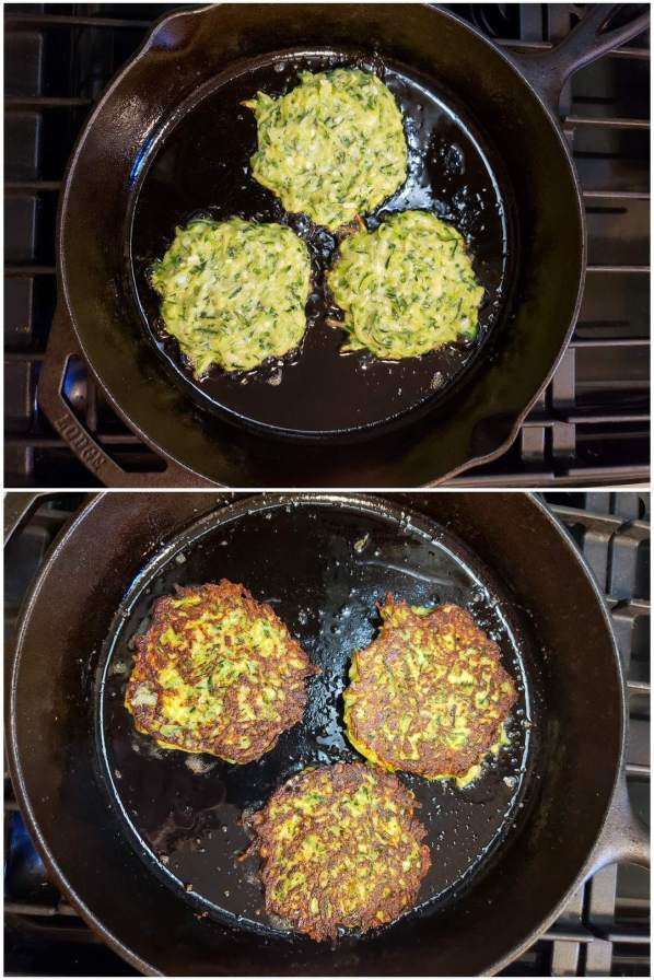 A two way image collage, the first image shows a cast iron skillet which contains three four inch rounds of  zucchini fritter batter. The oil is sizzling in the bottom of the pan and the edges of the fritters are starting to brown. The second image shows the fritters after they have been flipped. The side that has already been cooked is perfectly golden brown while bits of the fritter which haven't received direct heat retain a yellowish quiche like look.