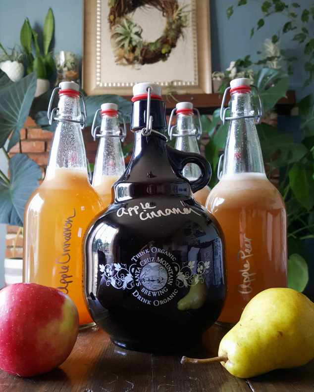 """Four 32 ounce EZ Cap bottles flank a Santa Cruz Mountain Brewing growler that is full of kombucha. The flavor that is clearly marked on all bottles is """"Apple Cinnamon"""" and """"Apple Pear."""" There is one apple flanking the front left of the bottles and a pear flanking the front right. Everything is sitting on a dark wood coffee table with fireplace mantle, rectangular glass mirror, and various houseplants of many shapes, sizes and colors in the background."""