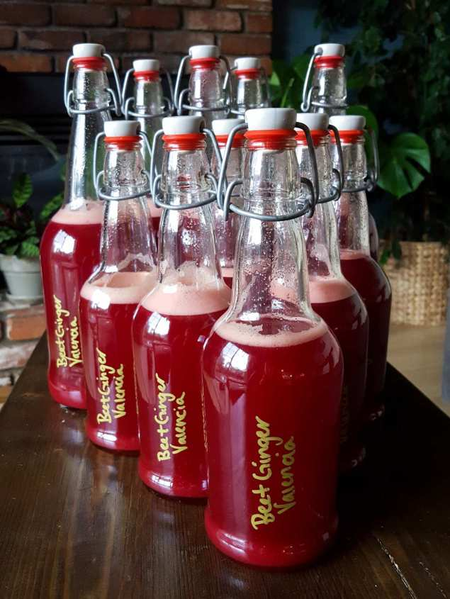 """Many EZ Cap bottles lined up like bowling pins with 16 ounce bottles in the front and 32 ounce bottles in the back. The bottles are labeled with the flavor, """"Beet Ginger Valencia"""" and are a beautiful dark red to purple. They are sitting on a dark wood skinny coffee table with many houseplants of various shades of green in the background."""