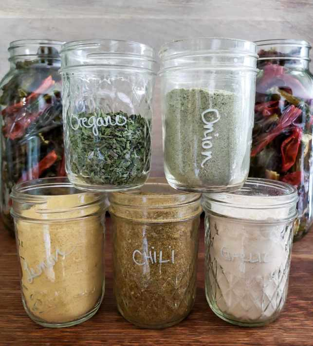 """Five half pint mason jars are lined up with three on the bottom and two stacked on top. They are each labeled, """"lemon"""", """"chili"""", """"garlic"""", """"oregano"""", and """"onion"""" and contained each ingredient in the dried form. They are all powders aside from the oregano which has been made into flakes. In the background sits the two half gallon mason jars full of dried chilis flanking the smaller jars in the forefront."""
