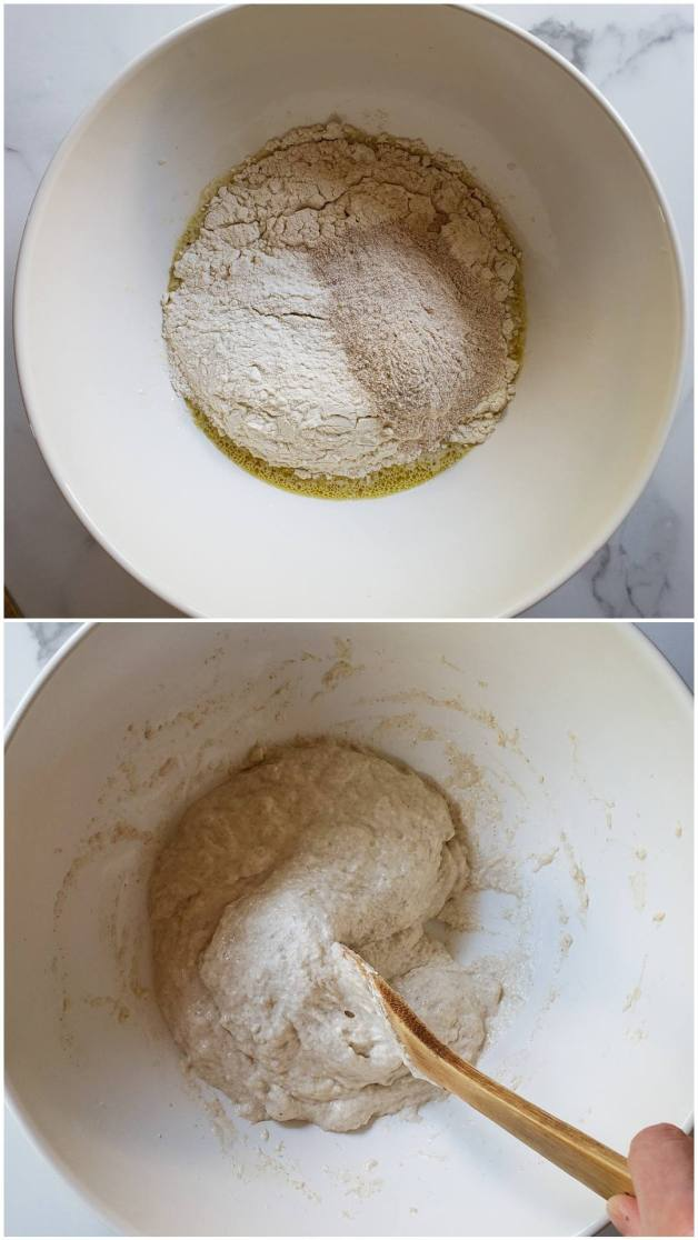 A two part image collage, the first image shows the ingredients (flour, salt, sourdough starter, oil, water, and salt) inside a white ceramic mixing bowl. The second image shows the same ingredients after they have been combined using a wooden spoon. The spoon is also pushing part of the dough towards the center of the bowl, illustrating the consistency of the dough.