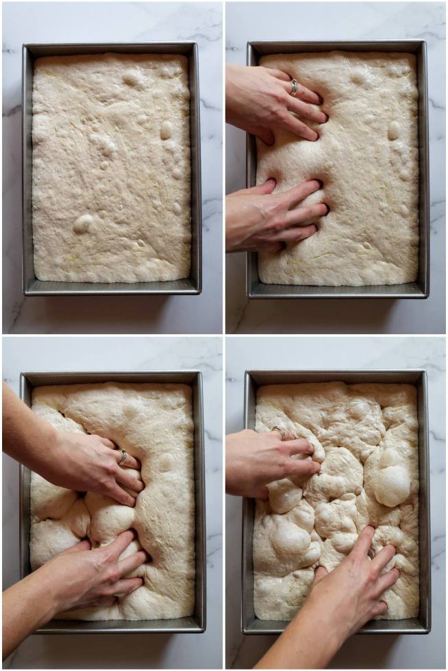 A four part image collage, the first image shows the sourdough focaccia dough after it has risen inside the baking pan. There are some air bubbles that have formed and the dough is fairly pillowy. The second image shows a set of hands with her fingers inserted into a portion of the dough, essentially poking it. The third image shows hands continuing to poke the dough using every finger, and the fourth image shows the hands continuing to poke the dough. The dough has continued to get more airy, bubbly, and pillowy the more times it has been poked from the first image to the fourth image.