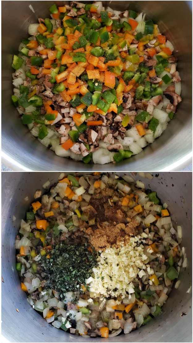 A two way image collage, the first image shows the onions, mushroom, and bell peppers starting to sauté along with a little salt and pepper. The second image shows the vegetables after they have cooked for a few minutes, fresh oregano, garlic, and seasonings have also been added to the top of the sauté.