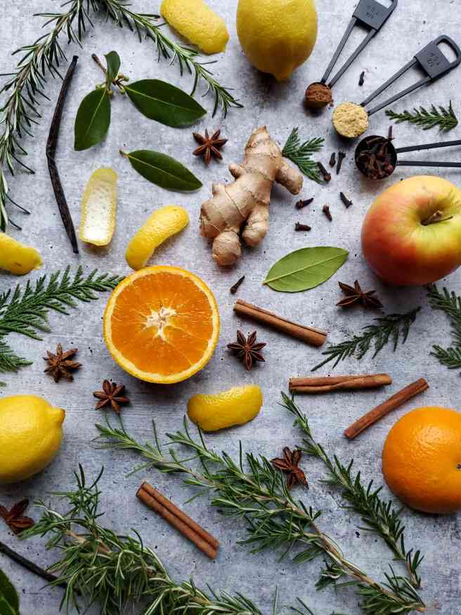 A variety of ingredients are dispersed amongst a washed concrete surface. Halves of oranges, lemons, lemon peels, ginger, star anise, cinnamon sticks, bay leaves, rosemary, whole cloves, ginger powder, and cinnamon powder along with vanilla beans round out the image.
