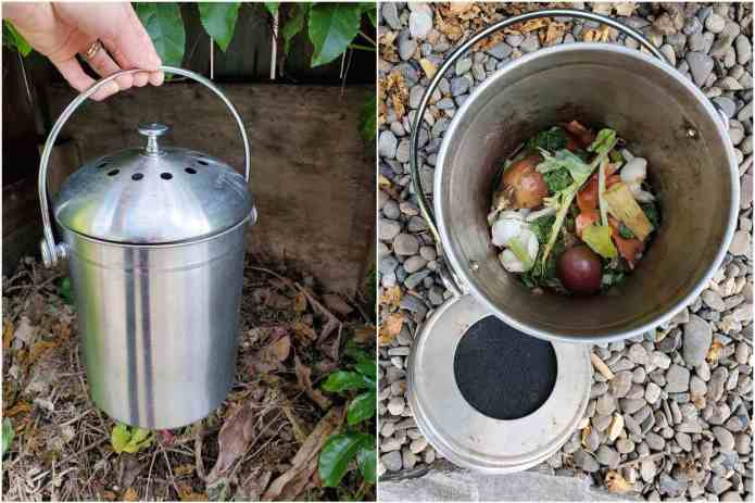A two part image collage, the first image shows a hand holding a stainless steel compost crock by the handle. They are holding it above a passive compost pile. The second image shows the compost crock on the ground with its lid off, there is some vegetable debris in the bottom third of the crock that will be composted shortly. The inside of the lid is also visible which reveals a black carbon filter that is nestled into it to keep the odors at bay.
