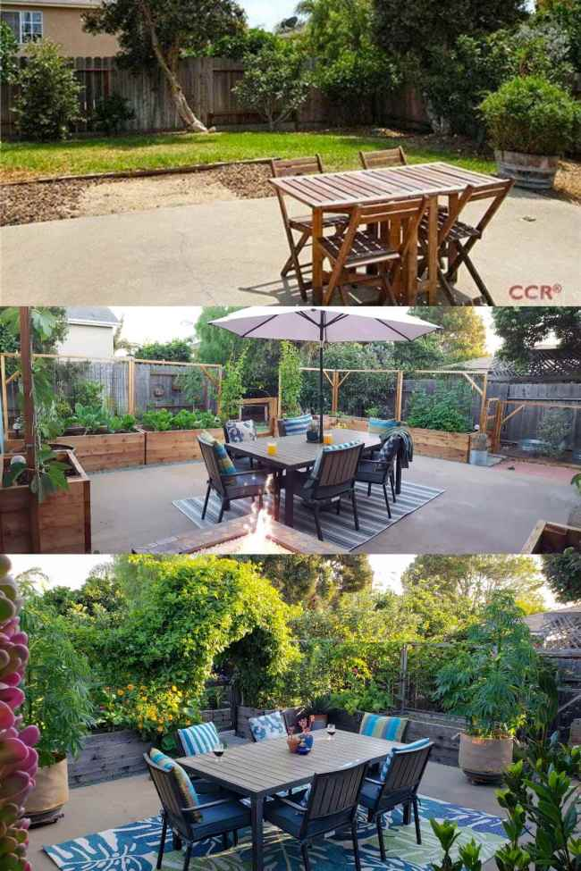 A three part image collage of the backyard patio. The first image shows the patio as it was taken while the house was listed for sale, there is a small patio table with chairs, some grass, and a sand pit of sorts. The second image shows the backyard patio garden after the garden beds and trellises have been installed surrounding the concrete patio. There are plants growing in every bed, a larger patio table on top of an outdoor rug, and a lit gas fireplace in the foreground. The third image shows the backyard patio after many of the plants have grown in, the main one being the passionfruit vine which has covered the metal arch over the gate to the backyard area. There are much more plants than before as the image is mostly green.