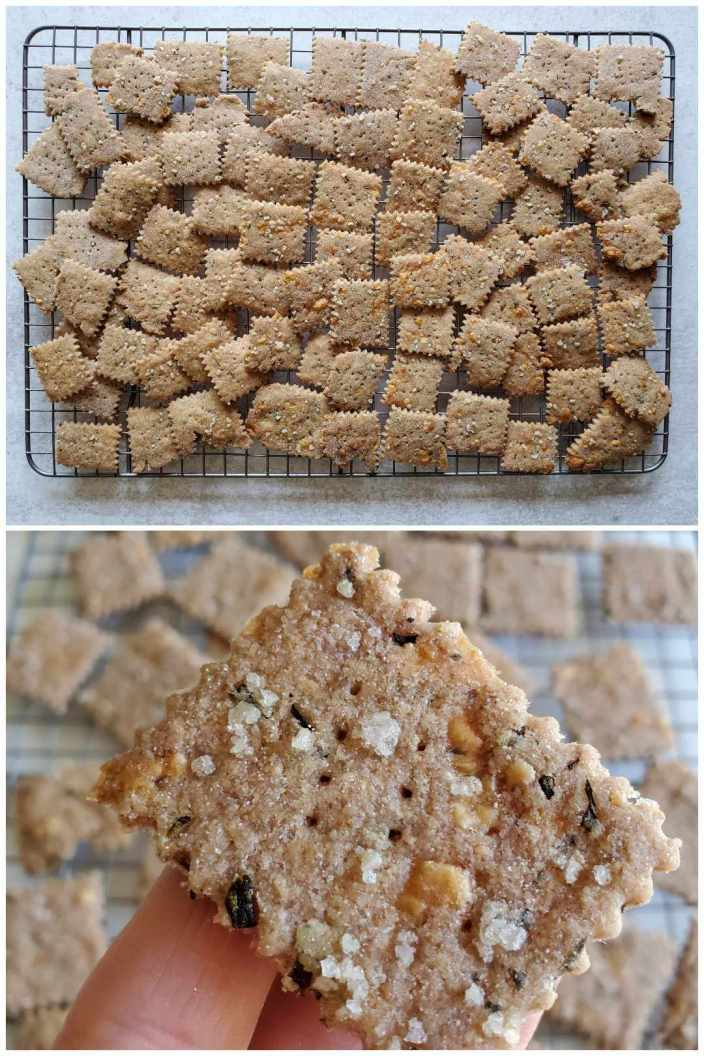 A two part image collage showing the gluten-free sourdough crackers after they have finished baking. The first image shows the crackers sitting on a wire cooling rack. They are lightly brown with flecks of salt, herbs, and cheese visible throughout the crackers. The second image shows a close up of a cracker. The salt, herbs, and cheese are even more evident. The holes poked in the crackers from the fork is also visible. The rest of the crackers are I  the background cooling on the wire rack.