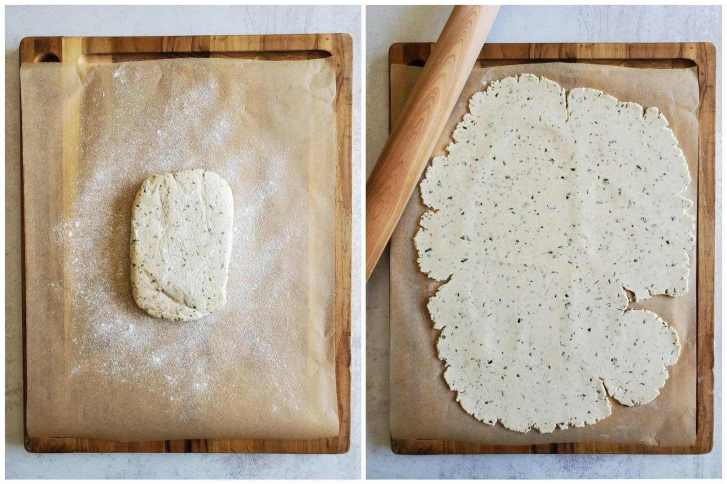 A two part image collage, the first image shows the rectangular dough ball sitting on a piece of floured parchment paper atop a cutting board. The second image shows the dough after it has been rolled out until the dough is thin and almost covers the entire piece of parchment paper. A wooden rolling pin is sitting next to the dough.