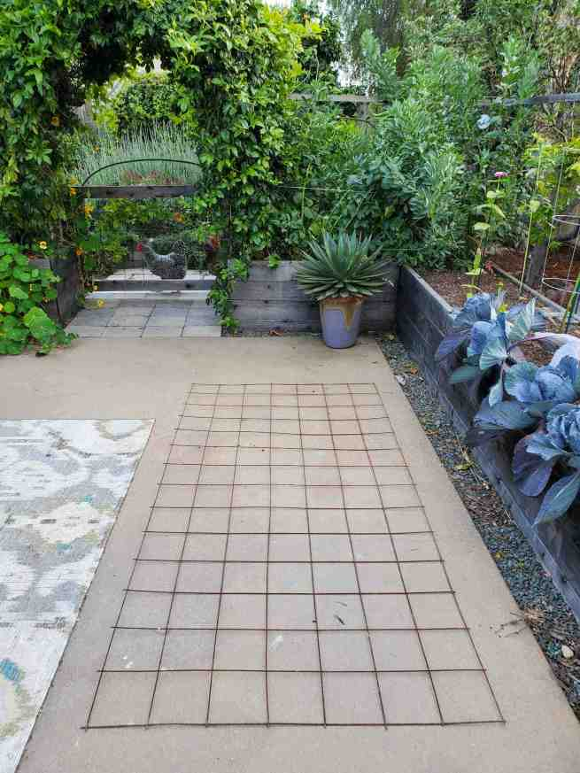 A piece of remesh is laying out flat on a concrete patio. In the background there is a chicken looking into the patio beyond a gate. There are lush green plants throughout the area, some in garden beds, others planted directly in the ground beyond.