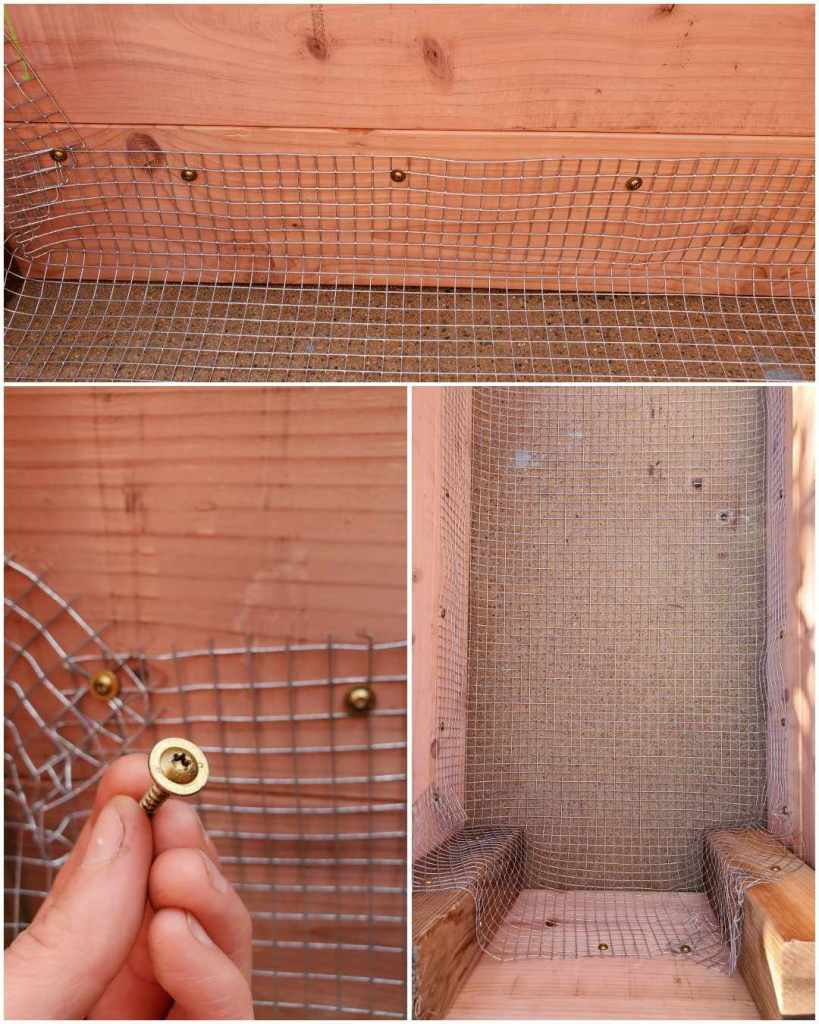A three part image collage, the first image shows the inner wall of a raised bed and the hardware cloth affixed to the side with a few screws. The second image shows a close up of the screws used and in the background there are a few screws that have been screwed into the side, connecting the hardware cloth to the wood. The third image shows a zoomed out image of the inside of the garden bed where there are various screws throughout the inside, connecting the hardware cloth with the wood, creating a bottom for a raised garden bed on concrete.