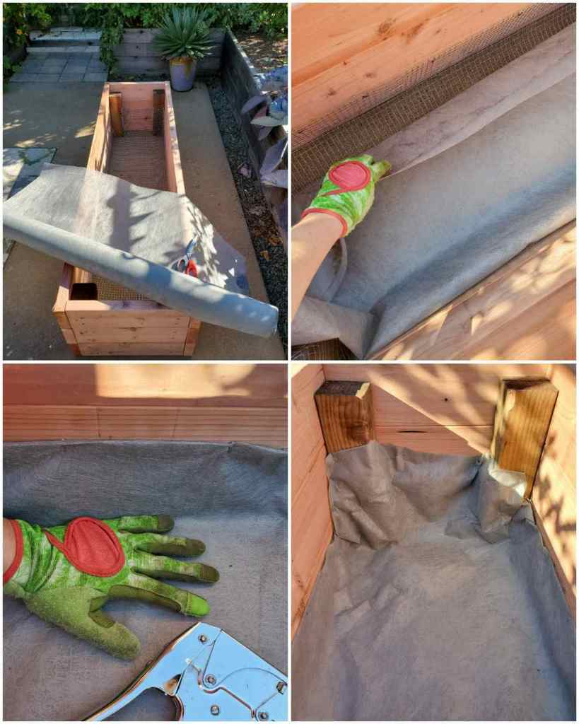 A four part image collage, the first image shows a raised garden bed with a roll of landscape fabric on top of it. The second image shows it being lined on the inner portion of the raised bed. The third image shows a staple gun and a few staples where it was affixed to the inside of the bed. The fourth image shows a few corners of the raised bed and how the fabric was attached to the inner walls.